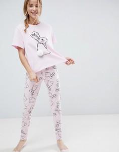 Пижамный комплект с футболкой и леггинсами ASOS - Розовый
