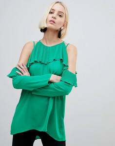Блузка с открытыми плечами и оборками River Island - Зеленый