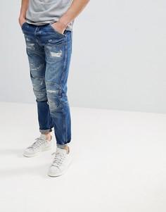 Состаренные суженные джинсы G-Star 5620 3D - Синий