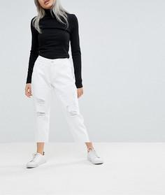 Джинсы в винтажном стиле с рваными коленками Noisy May Petite - Белый