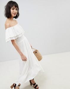 Платье макси с открытыми плечами River Island - Белый