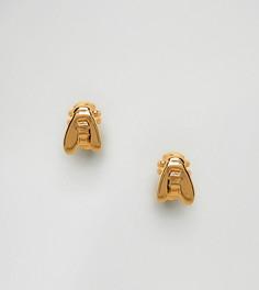 Позолоченные серьги-гвоздики в виде пчел Bill Skinner - Золотой