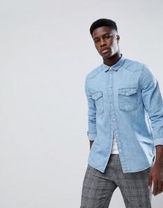 Синяя джинсовая рубашка Weekday - Синий