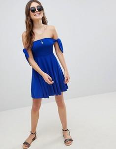 Платье мини с лифом бандо ASOS - Синий