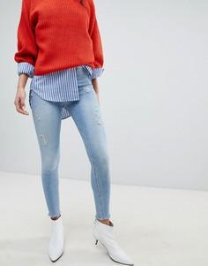 Светлые джинсы скинни River Island Molly - Синий
