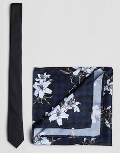 Галстук и платок для нагрудного кармана ASOS Black - Черный