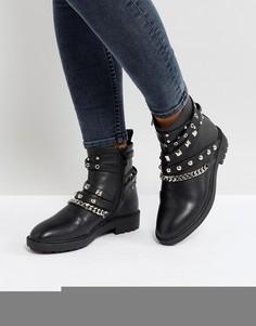 Черные байкерские ботинки с заклепками RAID Kacey - Черный