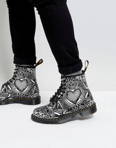 Ботинки с 8 парами люверсов и принтом игральных карт Dr Martens 1460 - Черный