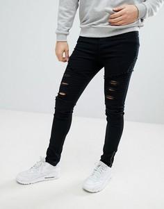 Черные байкерские джинсы скинни с потертой отделкой boohooMAN - Черный