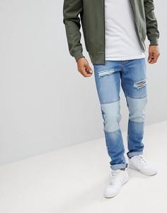 Рваные узкие джинсы boohooMAN - Синий