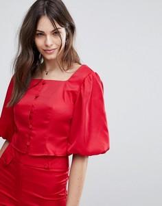 Комбинируемый кроп-топ на пуговицах спереди Fashion Union - Красный