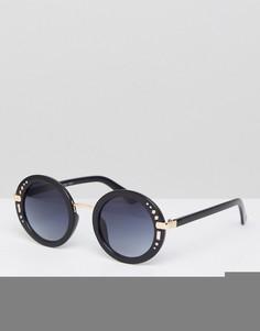 Черные большие круглые солнцезащитные очки AJ Morgan - Черный