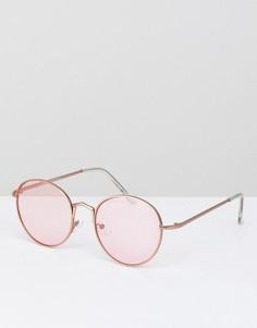 Круглые солнцезащитные очки с розовыми стеклами AJ Morgan - Серебряный