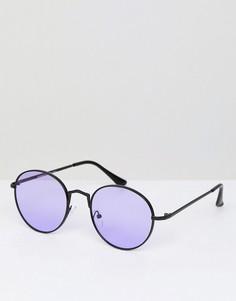 Круглые солнцезащитные очки с фиолетовыми стеклами AJ Morgan - Черный