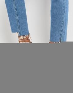 Розово-золотистые туфли на блочном каблуке с завязкой вокруг щиколотки RAID Lucky - Золотой