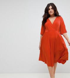 Платье-кимоно с плиссировкой ASOS CURVE - Оранжевый