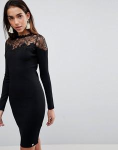 Облегающее платье с сетчатыми кружевными вставками Lipsy - Черный