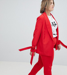Приталенный блейзер с завязками на рукавах Lovedrobe - Красный
