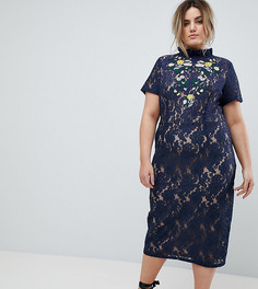 Платье-футляр миди с вышивкой Lovedrobe - Темно-синий