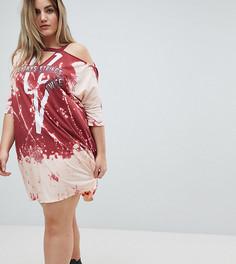 Платье-футболка с открытыми плечами Religion Plus - Красный