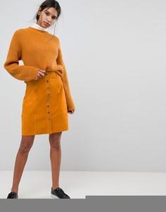 Замшевая юбка с пуговицами Selected - Рыжий