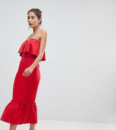 Платье-бандо миди с оборкой и баской True Violet - Красный
