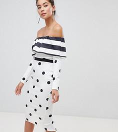 True Violet Bandeau Midi Dress With Frill - Мульти