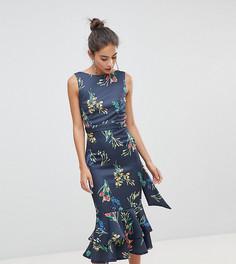 True Violet Midi Dress In Floral With Frill Hem - Мульти