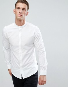Оксфордская рубашка узкого кроя с воротником-стойкой Only & Sons - Белый