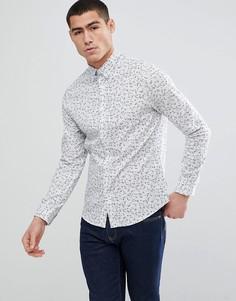 Облегающая рубашка с цветочным принтом Only & Sons - Белый