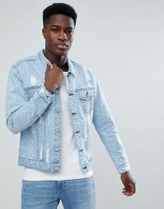 Выбеленная состаренная джинсовая куртка Only & Sons - Синий