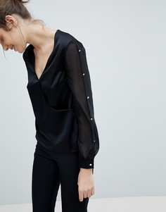 Атласная блузка с запахом Lipsy - Черный