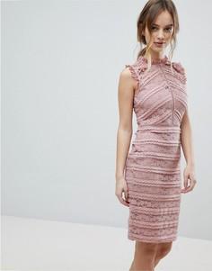Кружевное платье с оборками Lipsy - Розовый