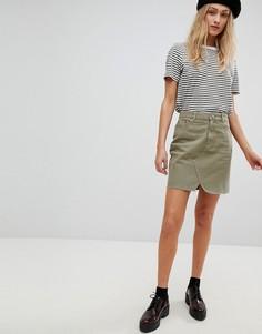 Джинсовая мини-юбка цвета хаки ASOS - Зеленый