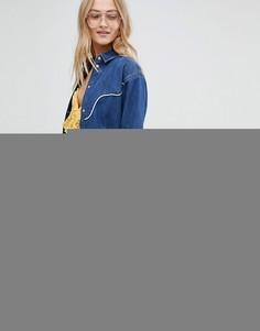 Джинсовая рубашка в стиле вестерн с отделкой ASOS - Синий