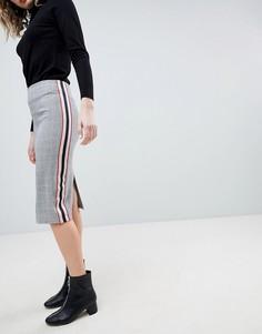 Юбка-карандаш с полосой по бокам ASOS Tailored - Серый