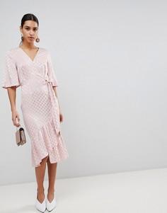 Жаккардовое платье миди с широкими рукавами ASOS - Розовый