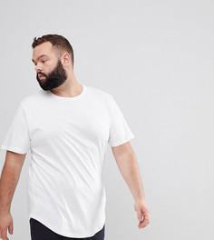 Удлиненная футболка с асимметричным подолом Only & Sons PLUS - Белый