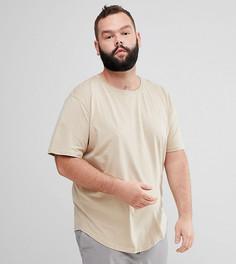 Удлиненная футболка с асимметричным подолом Only & Sons PLUS - Серый