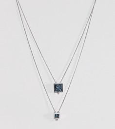 Многорядное ожерелье с камнями на основе переработанного денима ASOS - Серебряный