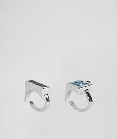 2 кольца с камнями на основе переработанного денима ASOS - Серебряный