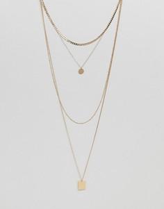 Ожерелье из цепочек в несколько рядов ASOS - Золотой