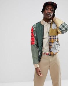 Куртка в стиле пэчворк на молнии Billionaire Boys Club - Зеленый
