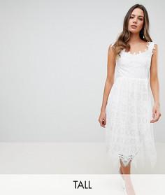 Кружевное платье миди с открытыми плечами Y.A.S Tall - Белый
