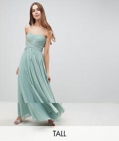 Платье макси с открытыми плечами и декоративным узлом Y.A.S Tall - Зеленый