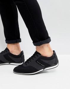 Черные трикотажные кроссовки BOSS - Черный