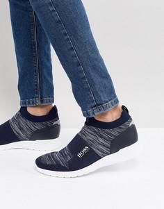 Темно-синие трикотажные кроссовки BOSS - Темно-синий