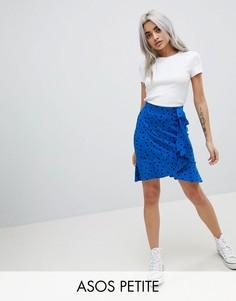 Мини-юбка в горошек с запахом ASOS PETITE - Синий