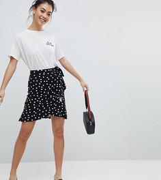 Мини-юбка в горошек с запахом ASOS PETITE - Черный