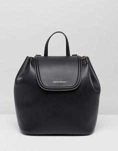 Кожаный рюкзак с золотистым логотипом Emporio Armani - Черный
